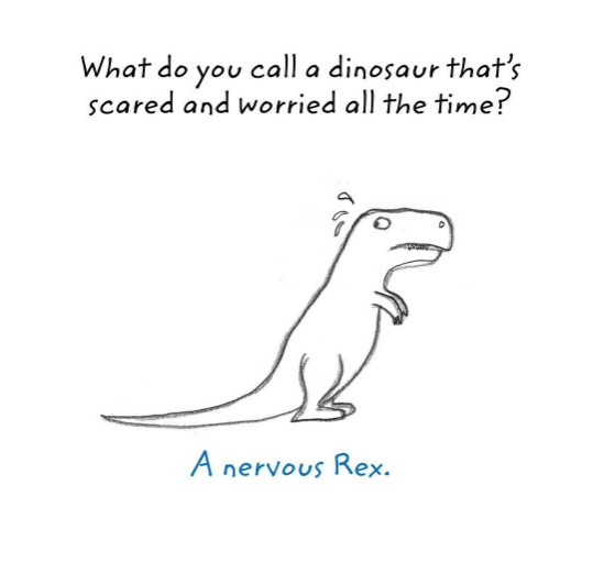 Text - What do you call a dinosaur that's scared and worried all the time? A nervous Rex.