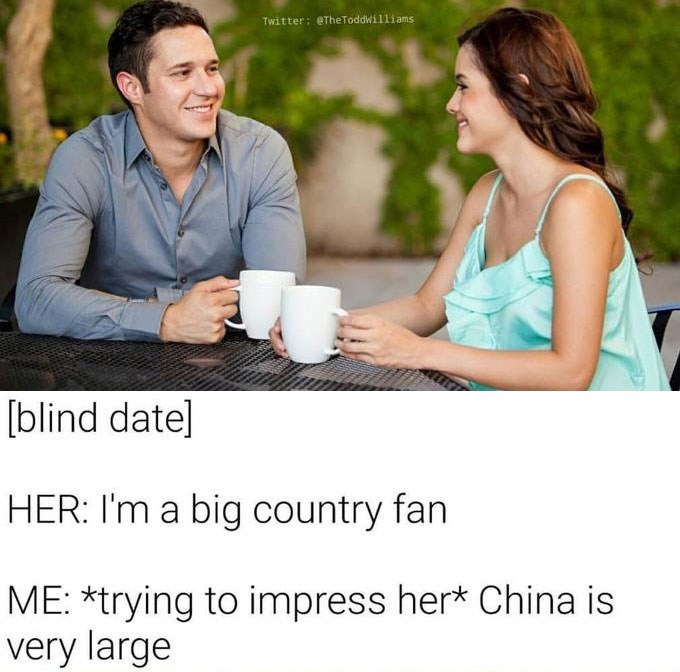 Funny meme about bad jokes about country music and china.