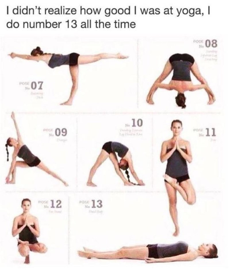 Funny meme about the corpse pose in yoga.