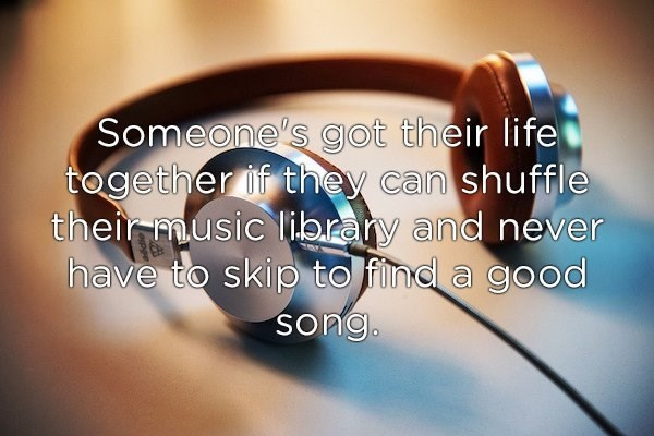 Headphones - Someone's g ot their life together if they can shuffle their music library and never have to skip to find a good song