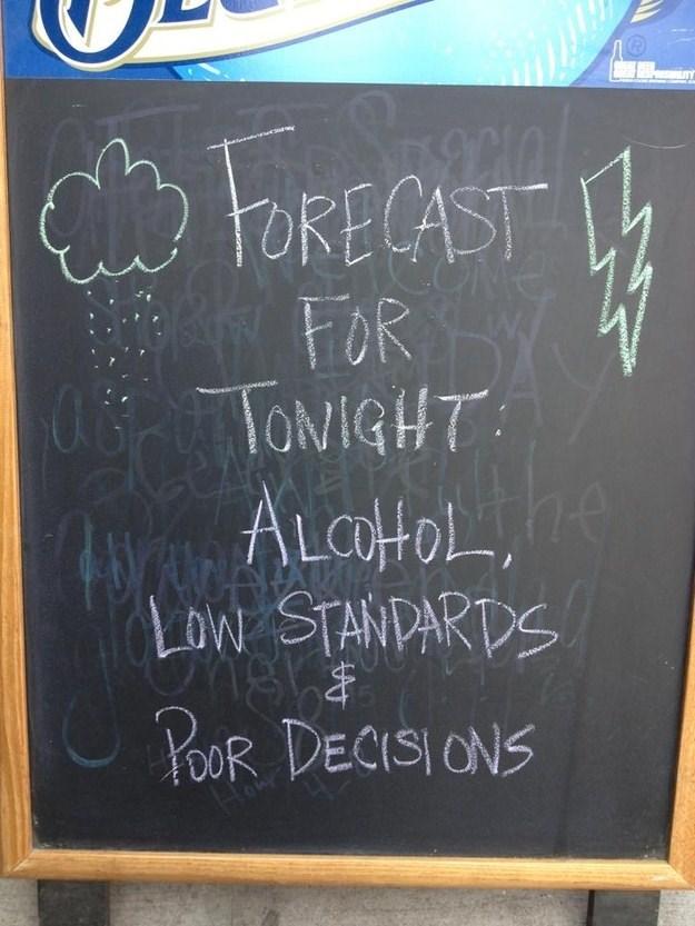 Blackboard - RECAST FOR TONIGHT ALCHOL, Low STANDARDS YOOR DECISIONS