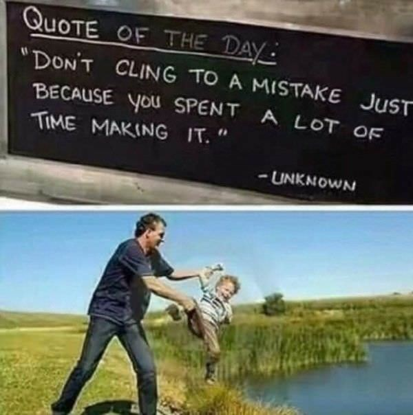 offensively inappropriate funny and dark meme about clinging to the past quote and throwing a kid into the lake