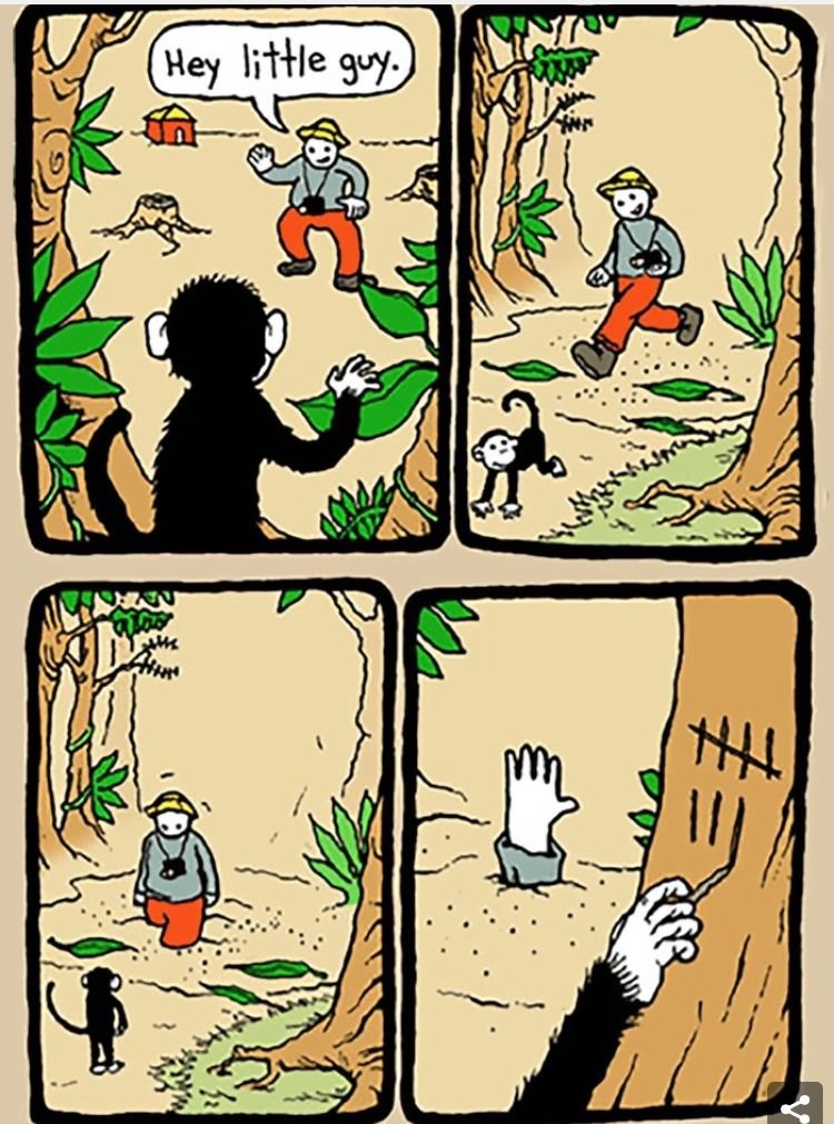 dark meme 4 panel webcomic of monkey trapping men in yellow hats