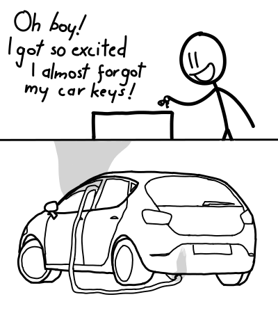 inappropriate and offensive dark meme about someone so excited about trying to kill himself that he almost forgot the car keys