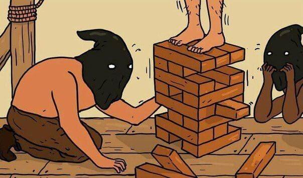 inappropriate dark meme about hangmen playing jenga