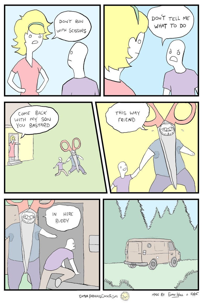 comic about son running with scissors that are actually kidnapper dressed in costume
