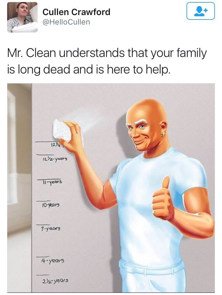 inappropriate dark meme about Mr. Clean helping to clean evidence of dead family
