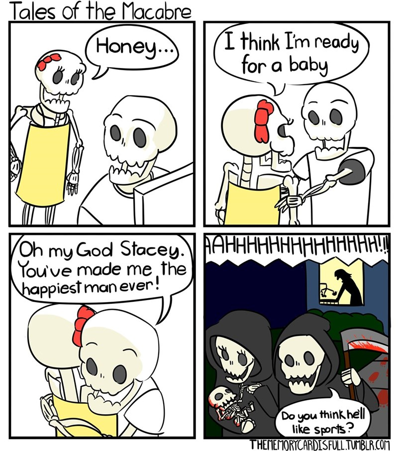 inappropriate dark comic about grim reaper couple murdering baby