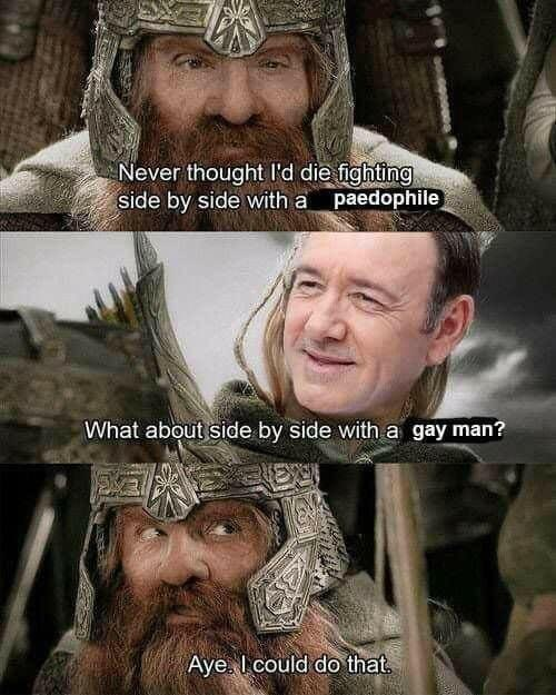 Lord of the Rings meme about Kevin Spacey coming out to distract from being a pedophile
