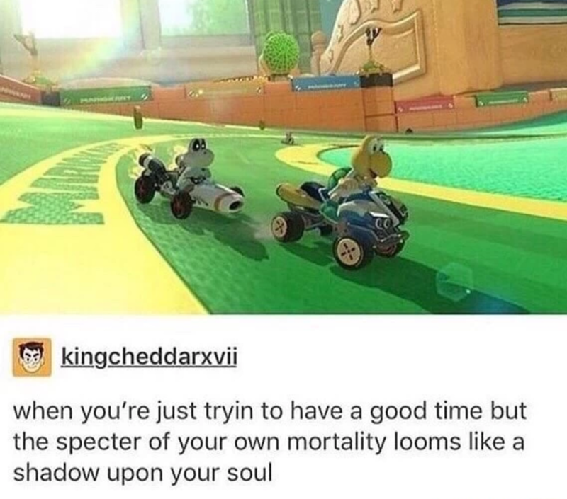 dank meme about existential dread with screenshot from Mario Kart