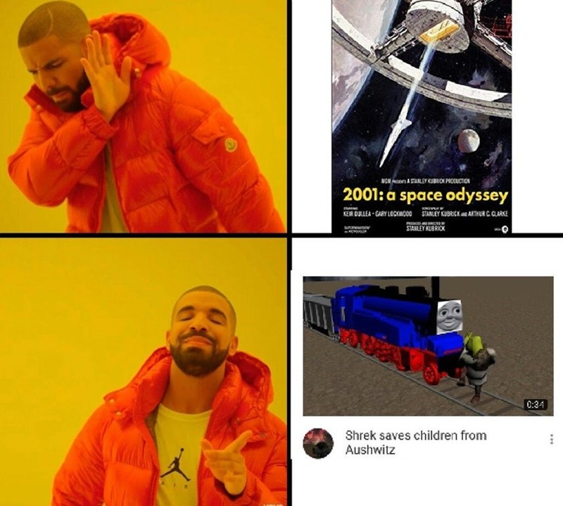 dank Drake meme about rejecting movie classics in favor of poorly made 3D animations