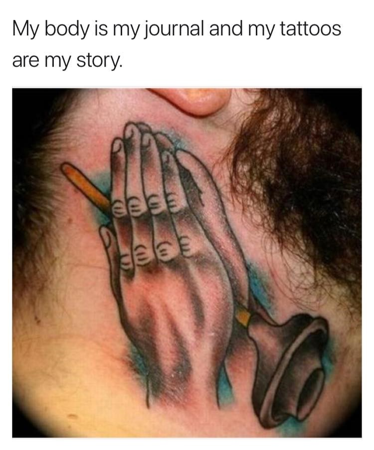 Funny meme about a tattoo of a plunger.