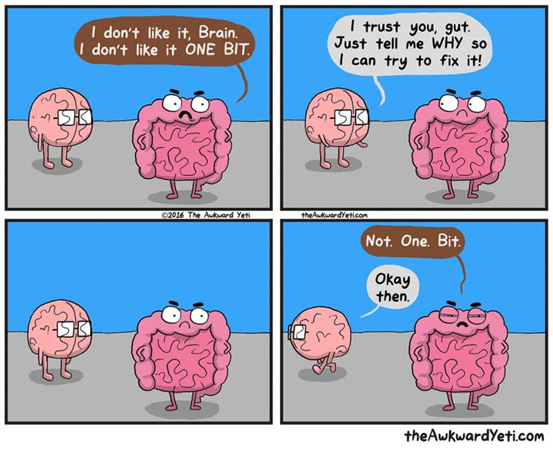 Cartoon - I trust you, gut. Just tell me WHY so can try to fix it! I don't like it, Brain. Idon't like it ONE BIT 2016 The Awkward Yeti theAwkwardYeticom Not. One. Bit. Окаy then. theAwkwardYeticom