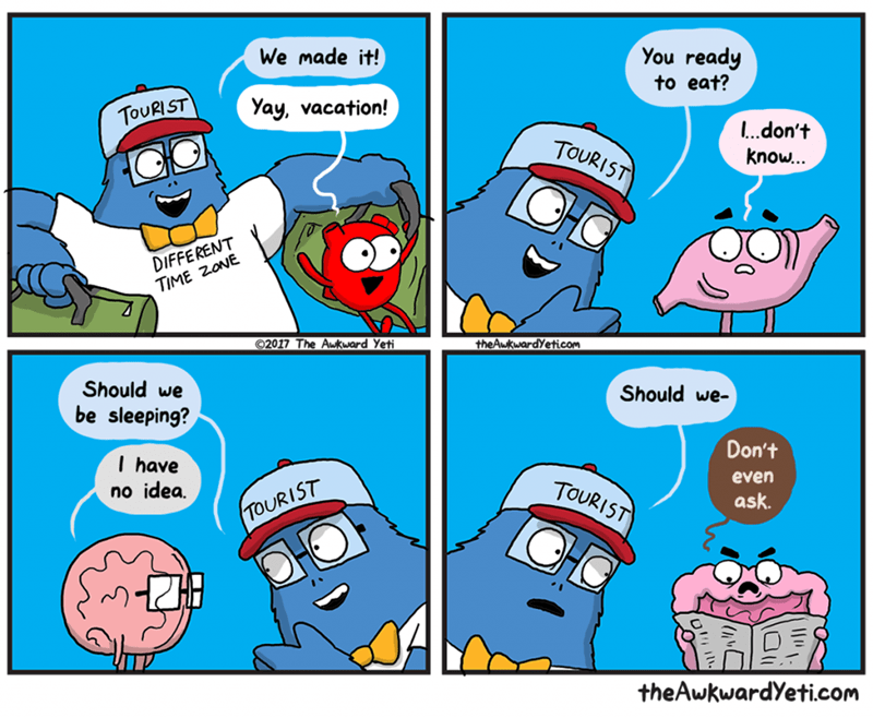 Cartoon - You ready We made it! to eat? Yay, vacation! TOURIST Ldon't TOURIST know... DIFFERENT TIME ZONE O2017 The Aukward Yeti theAwkwardYeticom Should we Should we- be sleeping? Don't I have no idea. even TOURIST ask C TOURIST theAwkwardYeti.com