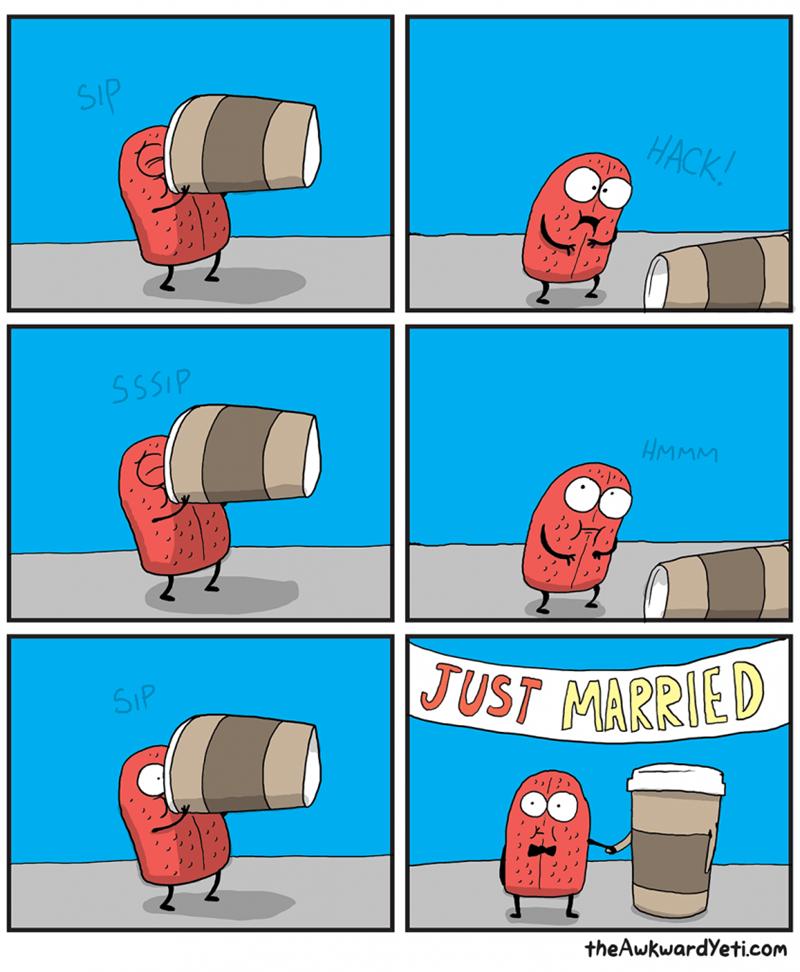 Cartoon - SIP HACK! SSSIP HMMM JUST MARRIED SIP theAwkwardYeti.com