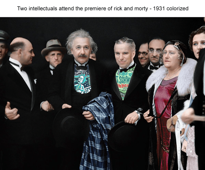 Funny meme about Albert Einstein being a fan of Rick and Morty.