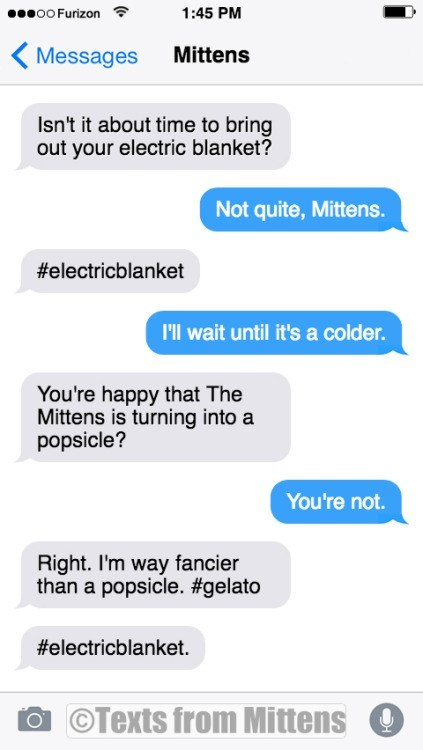 Text - oo Furizon 1:45 PM Mittens Messages Isn't it about time to bring out your electric blanket? Not quite, Mittens. #electricblanket I'll wait until it's a colder. You're happy that The Mittens is turning into a popsicle? You're not. Right. I'm way fancier than a popsicle. #gelato #electricblanket. OTexts from Mittens