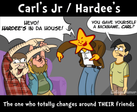 webcomic - Cartoon - Carl's Jr Hardee's HEYO! HARDEE'S IN DA HOUSE! yOu GAVE YOURSELF A NICKNAME, CARL? College Pumor The one who totally changes around THEIR friends