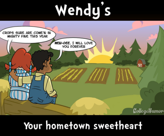 webcomic - Cartoon - Wendy's CROPS SURE ARE COME'N IN MIGHTY FINE THIS YEAR WEN-DEE, I WILL LOVE You FOREVER SKI CollegeHumon Your hometown sweetheart