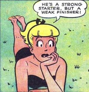 Cartoon - HE'S A STRONG STARTER, BUT A WEAK FINISHER!