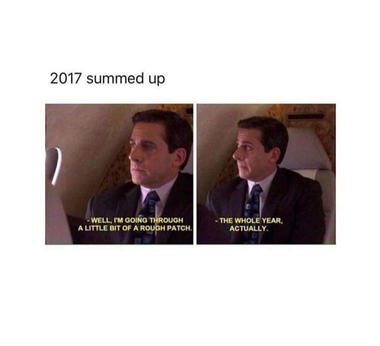 meme - Text - 2017 summed up WELL, IM GOING THROUGH A LITTLE BIT OF A ROUGH PATCH. -THE WHOLE YEAR ACTUALLY