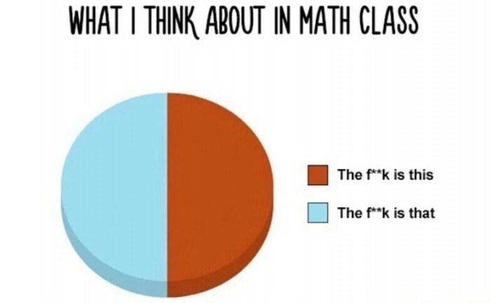 """meme - Orange - WHAT I THINK ABOUT IN MATH CLASS The f*k is this The f""""k is that"""