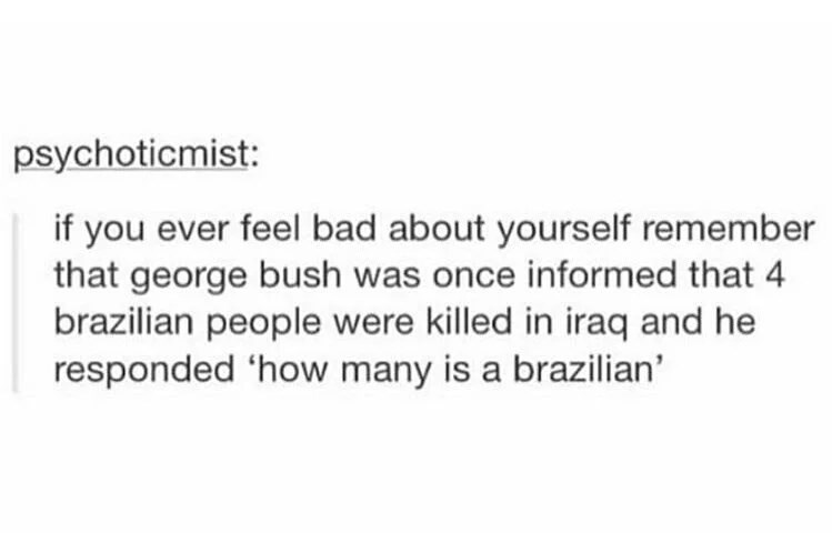 psychoticmist: if you ever feel bad about yourself remember that george bush was once informed that 4 brazilian people were killed in iraq and he responded 'how many is a brazilian'