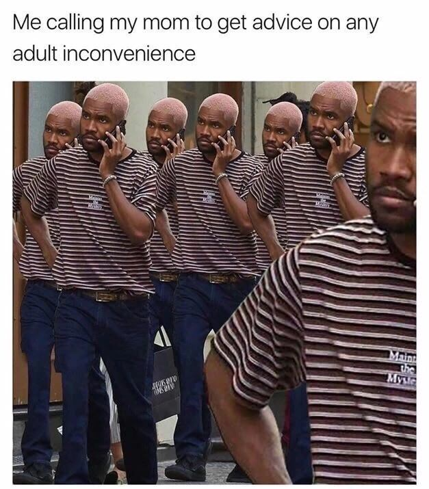 meme - People - Me calling my mom to get advice on any adult inconvenience Mae Main the Myu