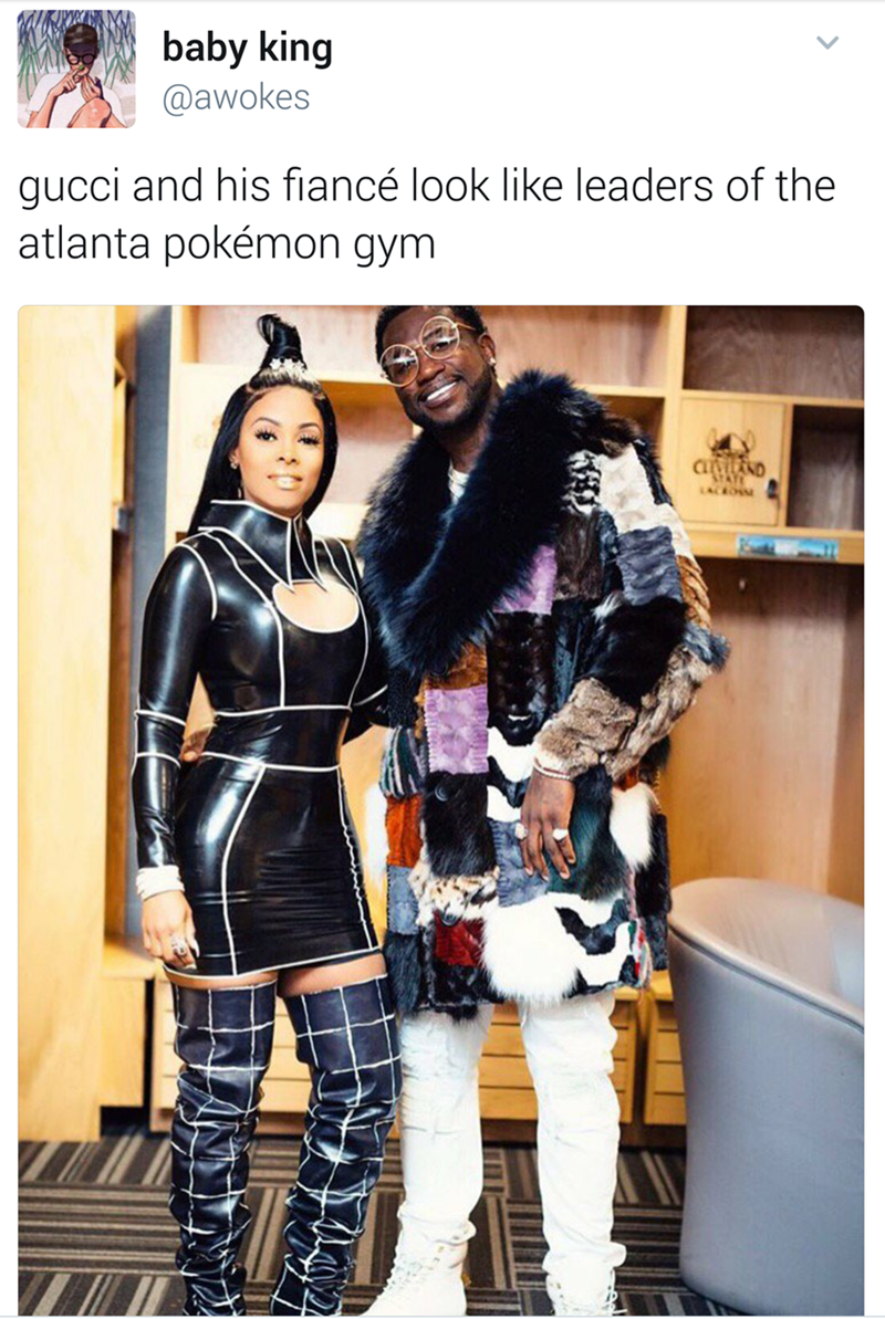 meme-gucci and his fiance clothing