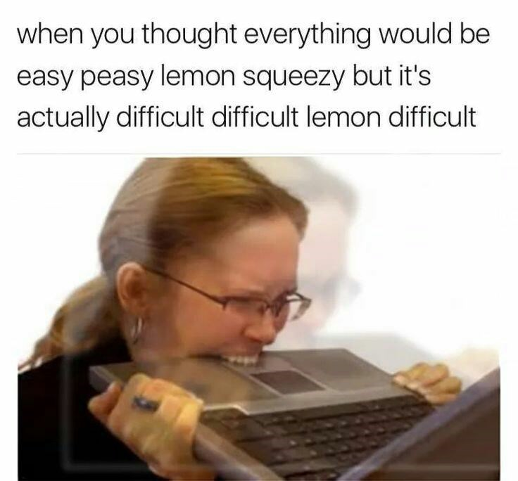 meme - Text - when you thought everything would be easy peasy lemon squeezy but it's actually difficult difficult lemon difficult