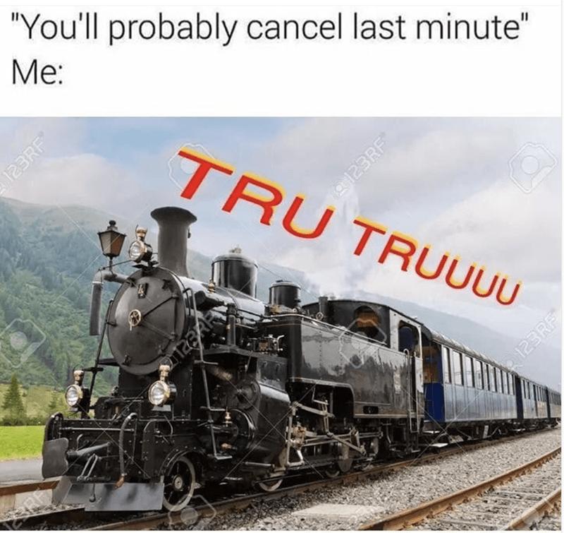 "meme - Transport - ""You'll probably cancel last minute"" Me: TRU TRUU0U 123RF RE 123RF e123RF"