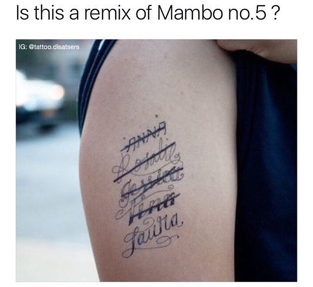 Funny meme about getting womens names tattooed on your body and then crossing them out.