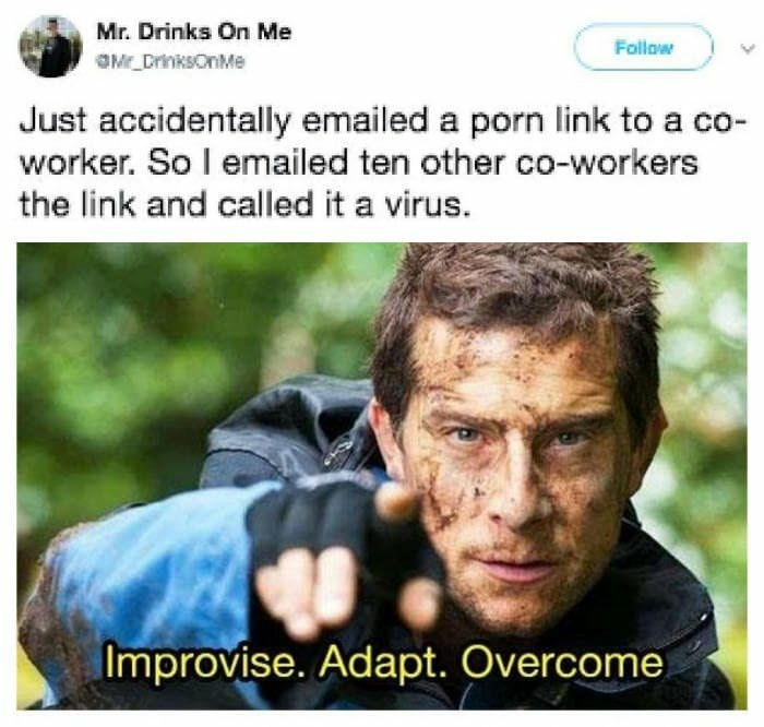 Funny meme about porn in the workplace.