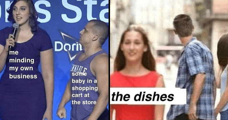 Funny random memes, meme about pretending the dishes don't exist, meme about random kid in supermarket.