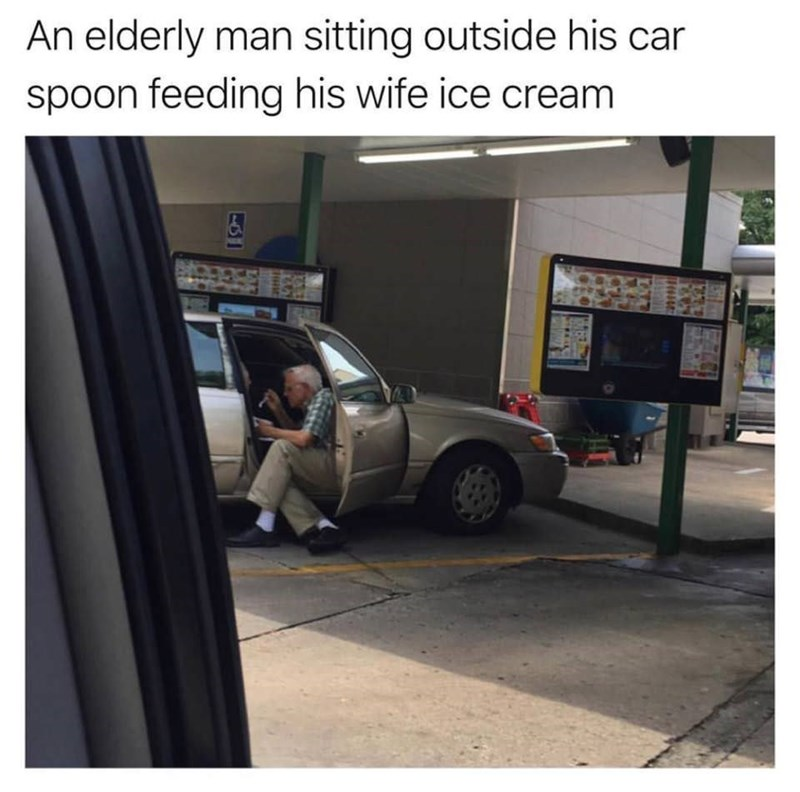 meme - Vehicle door - An elderly man sitting outside his car spoon feeding his wife ice cream 9935168