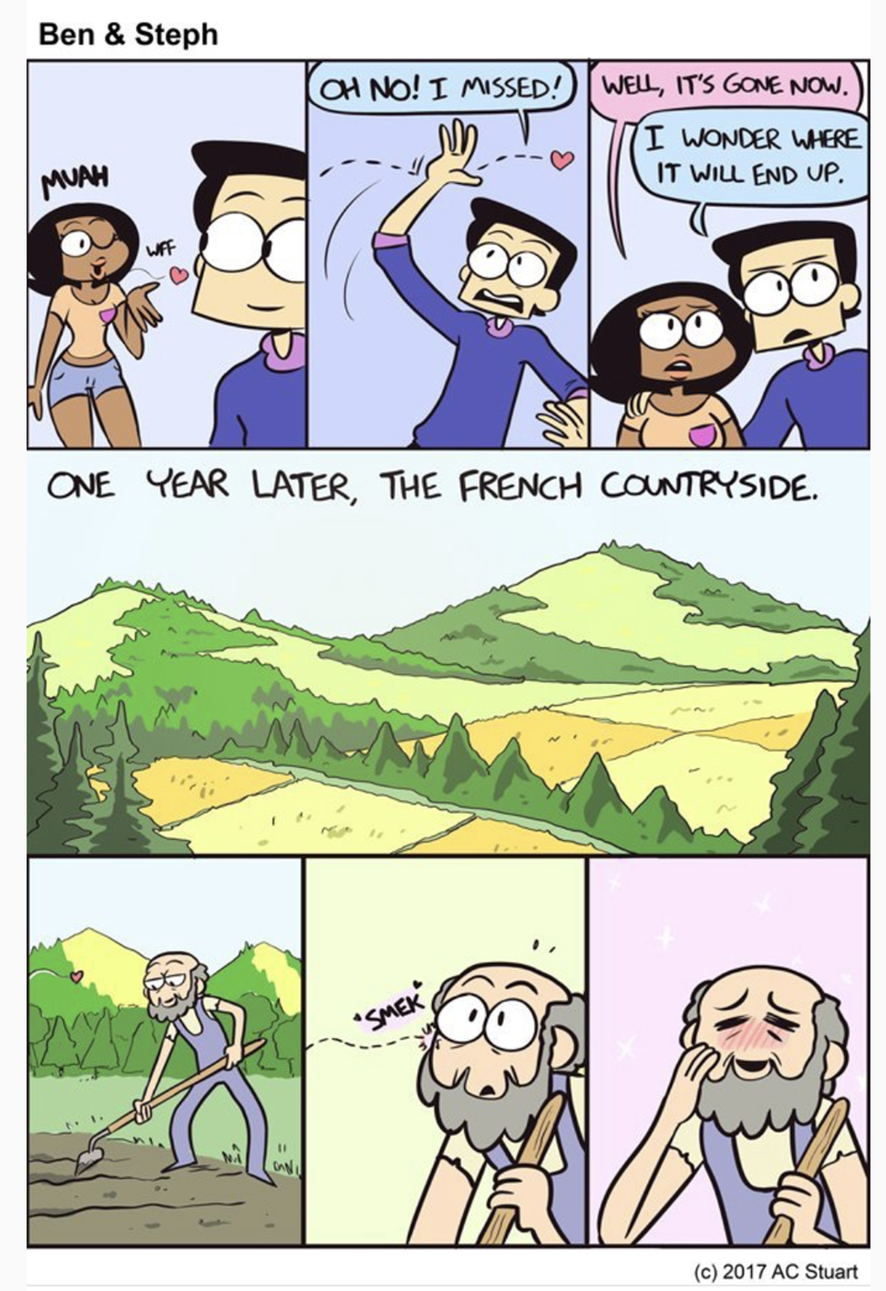 meme - Cartoon - Ben & Steph aH NO! I MISSED! WELL, IT'S GONE NOW I WONDER WHERE MUAH IT WILL END UP WFF ONE YEAR LATER, THE FRENCH COUNTRYSIDE SMEK onN (c) 2017 AC Stuart