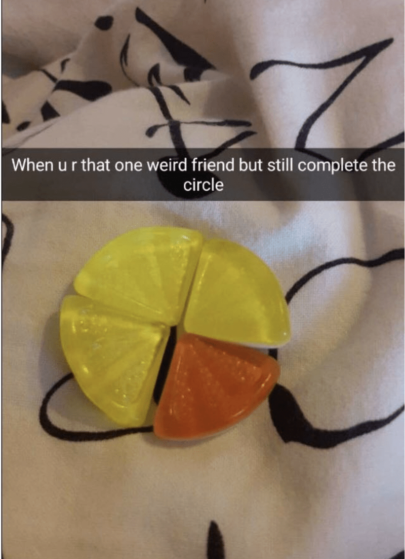 meme - Yellow - When u r that one weird friend but still complete the circle