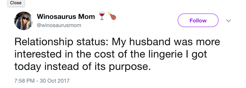 Text - Close Winosaurus Mom Follow @winosaurusmom Relationship status: My husband was more interested in the cost of the lingerie I got today instead of its purpose. 7:58 PM -30 Oct 2017