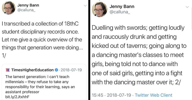 Woman on Twitter transcribes a collection of 18th century student disciplinary records.