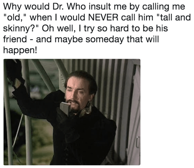 Trump meme about The Master trying to be the Doctor's friend but insulting him instead