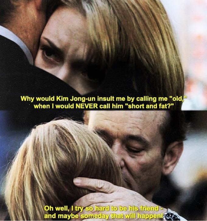 """Trump meme about his """"short and fat"""" tweet with scene from movie Lost in Translation"""