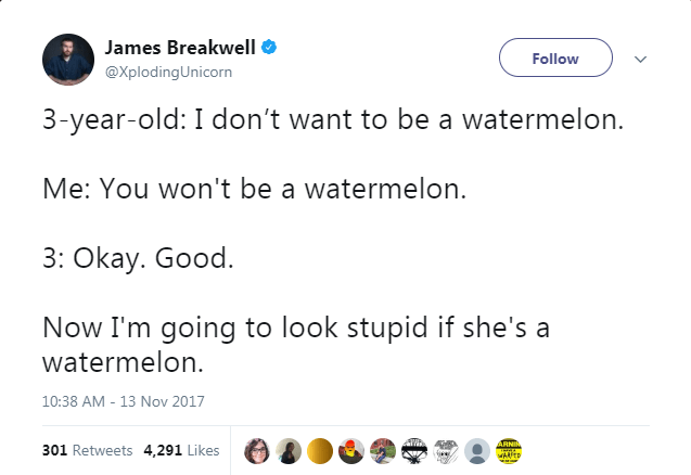 Text - James Breakwell Follow @XplodingUnicorn 3-year-old: I don't want to be a watermelon. Me: You won't be a watermelon 3: Okay. Good. Now I'm going to look stupid if she's a watermelon 10:38 AM - 13 Nov 2017 ARNIA 301 Retweets 4,291 Likes WAED