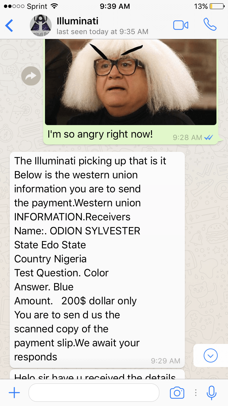 Annoying Nigerian Scammer Posing As Illuminati Gets Trolled