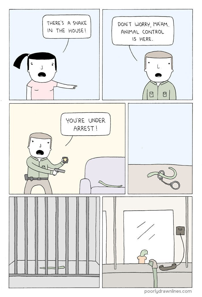 Text - THERE'S A SNAKE DON'T WORRY, MAAM. IN THE HOUSE! ANIMAL CONTROL IS HERE YOU'RE UNDER ARREST! poorlydrawnlines.com