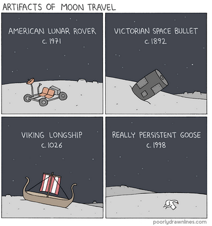 Text - ARTIFACTS OF MOON TRAVEL AMERICAN LUNAR ROVER VICTORIAN SPACE BULLET c.1892 C. 1971 VIKING LONGSHIP REALLY PERSISTENT GOOSE c. 1998 C. 1026 poorlydrawnlines.com