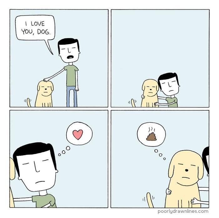Cartoon - I LOVE YOU, DOG O O o oo O poorlydrawnlines.com