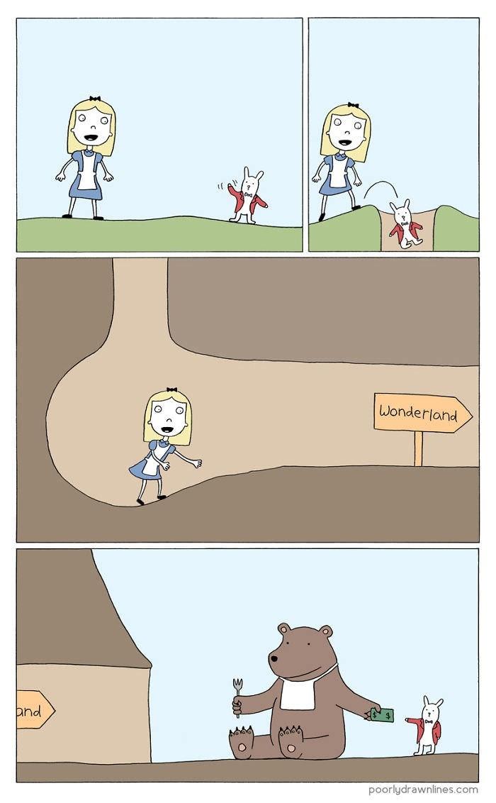 Cartoon - Wonderland and poorlydrawnlines.com