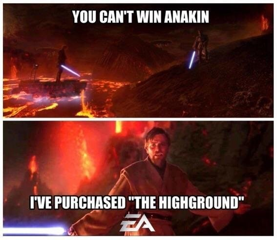 Funny meme about EA Star Wars Battlefront II, Obi-Wan Kenobi purchased the high ground while in combat with Anakin SKywalker.