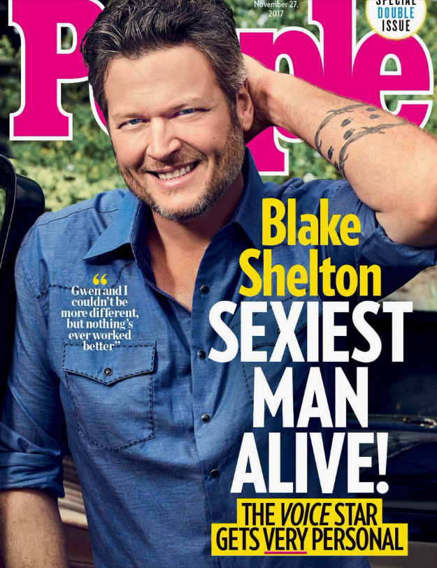"Magazine - November 27. 2017 DOUBLE ISSUE D. Blake Shelton SEXIEST MAN ALIVE! Gwen and I couldn't be more different, but nothing's ever worked better"" THE VOICE STAR GETS VERY PERSONAL"