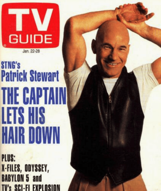 Album cover - TV GUIDE Jan. 22-28 STNG's Patrick Stewart THE CAPTAIN LETS HIS HAIR DOWN PLUS: X-FILES, ODYSSEY, BABYLON 5 and TV's SCI-FI EXPLOSSION